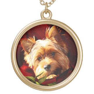 Yorkshire Terrier embedded in Roses Gold Plated Necklace