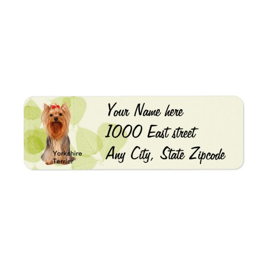 Yorkshire Terrier ~ Green Leaves Design Return Address Label