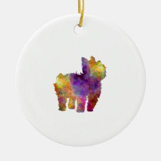 Yorkshire Terrier in watercolor 2 Ceramic Ornament