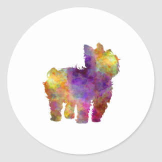 Yorkshire Terrier in watercolor 2 Classic Round Sticker