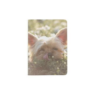 Yorkshire Terrier Laying in Sun licking lips Passport Holder