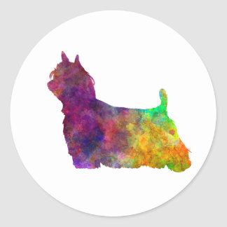 Yorkshire Terrier Long Hair in watercolor Classic Round Sticker