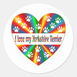 Yorkshire Terrier Love Classic Round Sticker