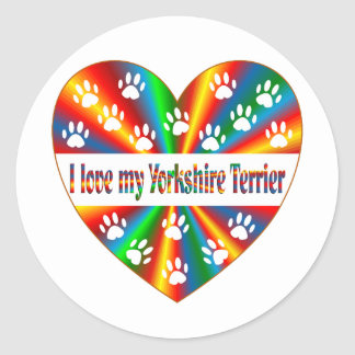 Yorkshire Terrier Love Round Sticker