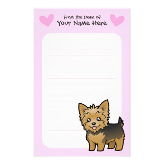 Yorkshire Terrier Love (short hair no bow) Customized Stationery