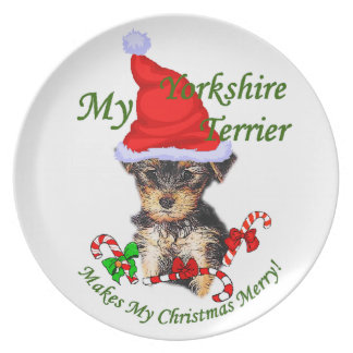 Yorkshire Terrier Lovers Christmas Party Plates