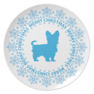 Yorkshire Terrier Merry Christmas Decorative Plate