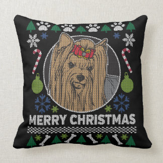 Yorkshire Terrier Merry Christmas Ugly Sweater Throw Pillow