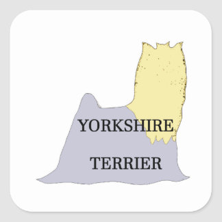 Yorkshire Terrier name silo blue and tan Square Sticker