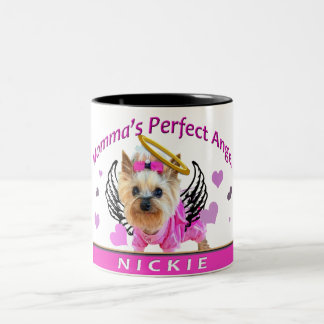 "Yorkshire Terrier ""Nickie"" Angel Two-Tone Coffee Mug"
