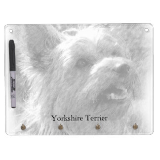 Yorkshire Terrier Pencil Drawing Horizontal Dry Erase White Board