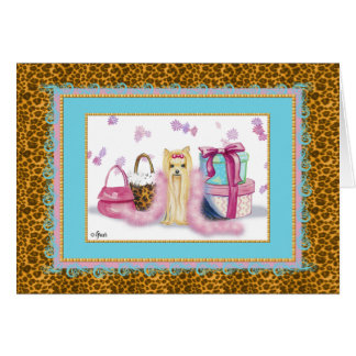Yorkshire Terrier Pink Feather Boa Card