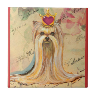 Yorkshire Terrier Princess Heart Tile