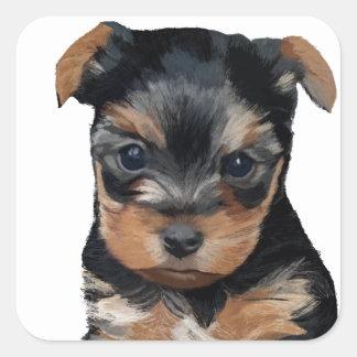 Yorkshire Terrier Puppy Art Square Sticker