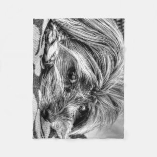 Yorkshire terrier puppy black and white photograph fleece blanket