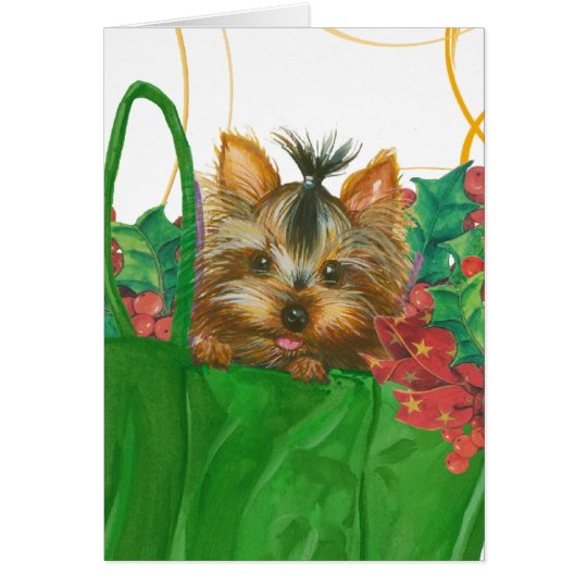 Yorkshire Terrier Puppy Christmas Greeting Card