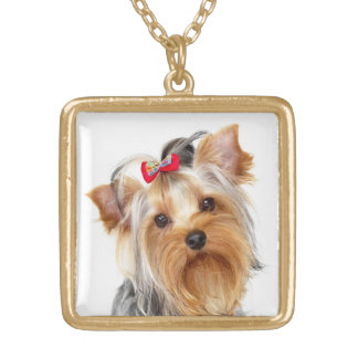 Yorkshire Terrier Puppy Dog Gold Necklace