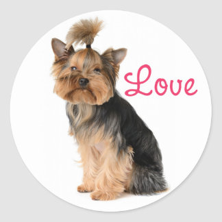 Yorkshire Terrier Puppy Dog Pink Love Sticker