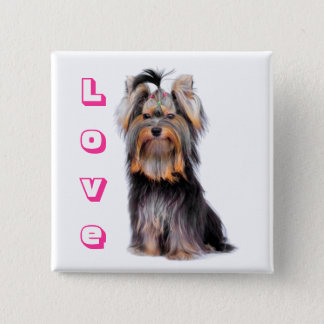 Yorkshire Terrier Puppy Dog Pink Love Yorkie 2 Inch Square Button
