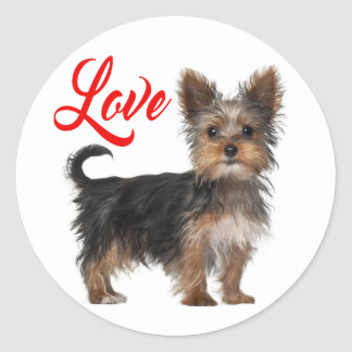 Yorkshire Terrier Puppy Dog Red Love Round Sticker