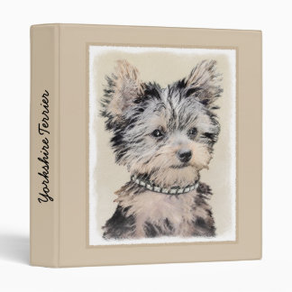 Yorkshire Terrier Puppy Painting Original Dog Art 3 Ring Binders