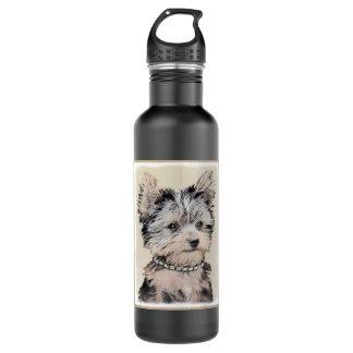 Yorkshire Terrier Puppy Painting Original Dog Art 710 Ml Water Bottle