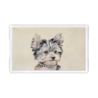Yorkshire Terrier Puppy Painting Original Dog Art Acrylic Tray