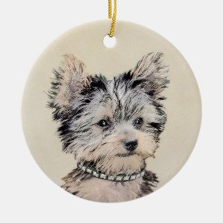 Yorkshire Terrier Puppy Painting Original Dog Art Ceramic Ornament