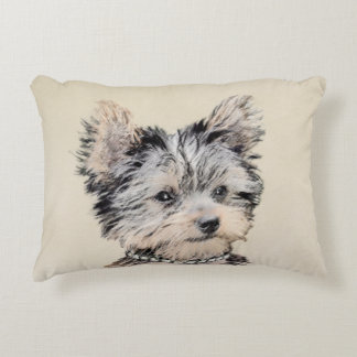 Yorkshire Terrier Puppy Painting Original Dog Art Decorative Pillow