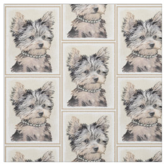 Yorkshire Terrier Puppy Painting Original Dog Art Fabric