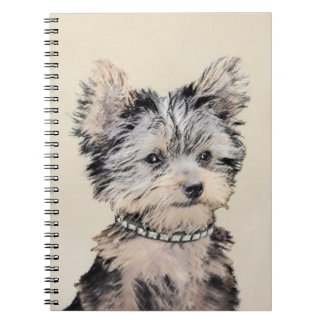 Yorkshire Terrier Puppy Painting Original Dog Art Notebooks