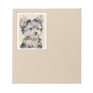 Yorkshire Terrier Puppy Painting Original Dog Art Notepad