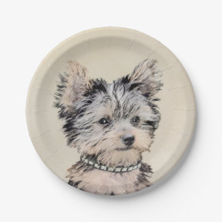Yorkshire Terrier Puppy Painting Original Dog Art Paper Plate