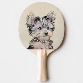Yorkshire Terrier Puppy Painting Original Dog Art Ping Pong Paddle