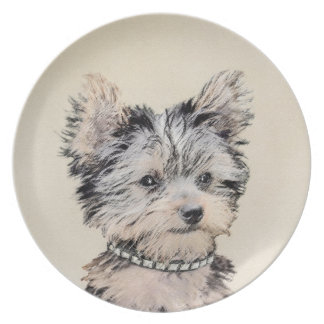 Yorkshire Terrier Puppy Painting Original Dog Art Plate
