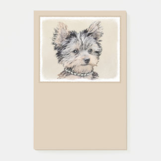 Yorkshire Terrier Puppy Painting Original Dog Art Post-it Notes