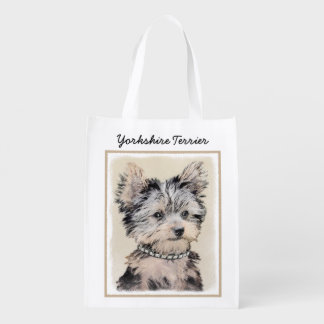 Yorkshire Terrier Puppy Painting Original Dog Art Reusable Grocery Bag