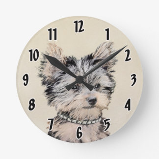 Yorkshire Terrier Puppy Painting Original Dog Art Round Clock