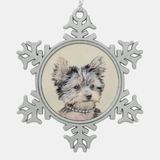 Yorkshire Terrier Puppy Painting Original Dog Art Snowflake Pewter Christmas Ornament