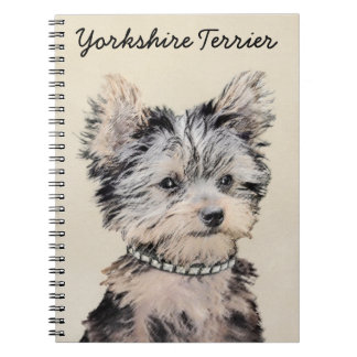 Yorkshire Terrier Puppy Painting Original Dog Art Spiral Notebook