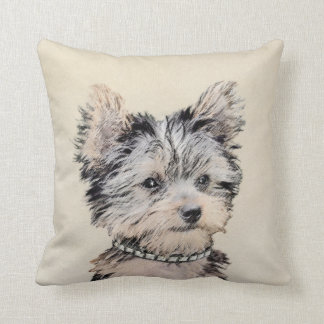 Yorkshire Terrier Puppy Painting Original Dog Art Throw Pillow