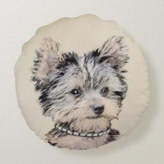 Yorkshire Terrier Puppy Round Pillow