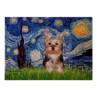 Yorkshire Terrier Puppy - Starry Night Poster