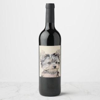 Yorkshire Terrier Puppy Wine Label