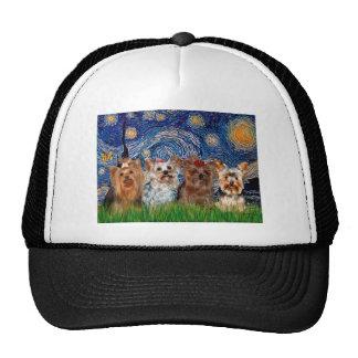 Yorkshire Terrier Quad - Starry Night Trucker Hat
