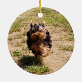 Yorkshire terrier running ceramic ornament