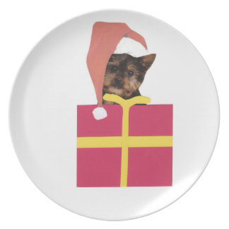 Yorkshire Terrier Santa Hat Gift Box Plate