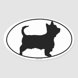 Yorkshire Terrier Silhouette Oval Sticker
