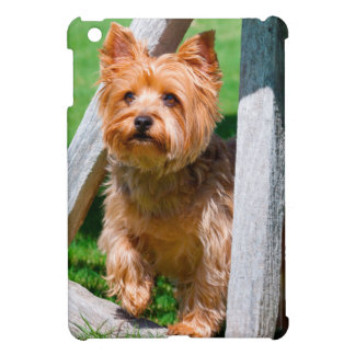 Yorkshire Terrier standing in a wagon wheel Cover For The iPad Mini