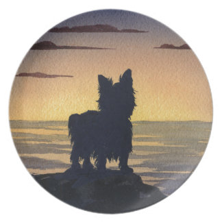 Yorkshire Terrier Sunset Dinner Plate